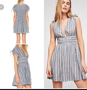 Free People Roll The Dice Striped Mini Dress